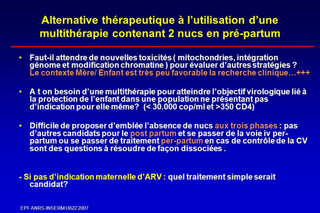 EPF ANRS-INSERM U822 2007 Alternative thérapeutique à lutilisation dune multithérapie contenant 2 nucs en pré-partum Faut-il attendre de nouvelles tox
