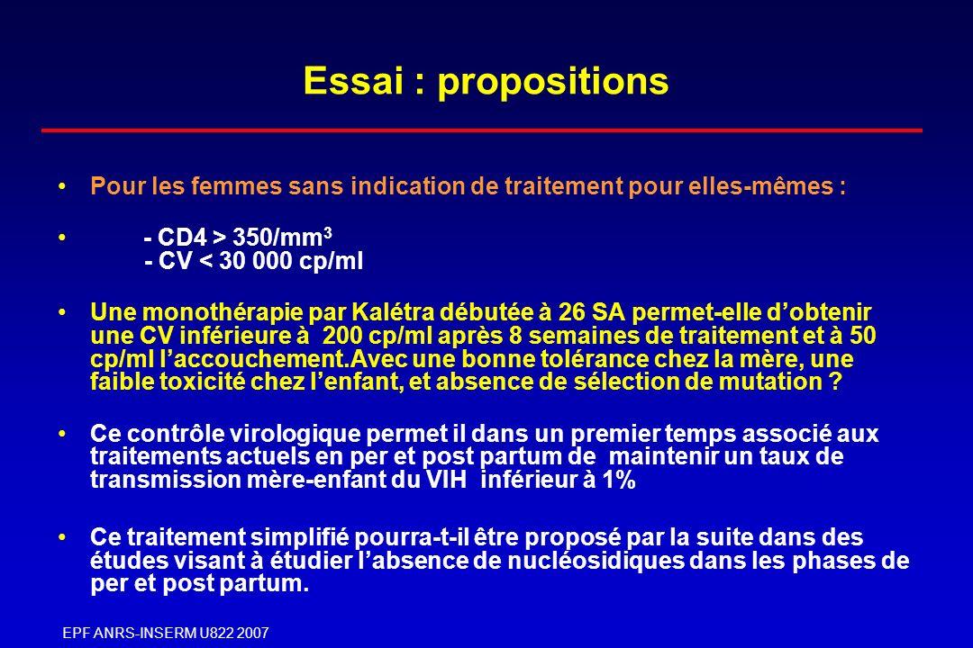 EPF ANRS-INSERM U822 2007 Essai : propositions Pour les femmes sans indication de traitement pour elles-mêmes : - CD4 > 350/mm 3 - CV < 30 000 cp/ml U