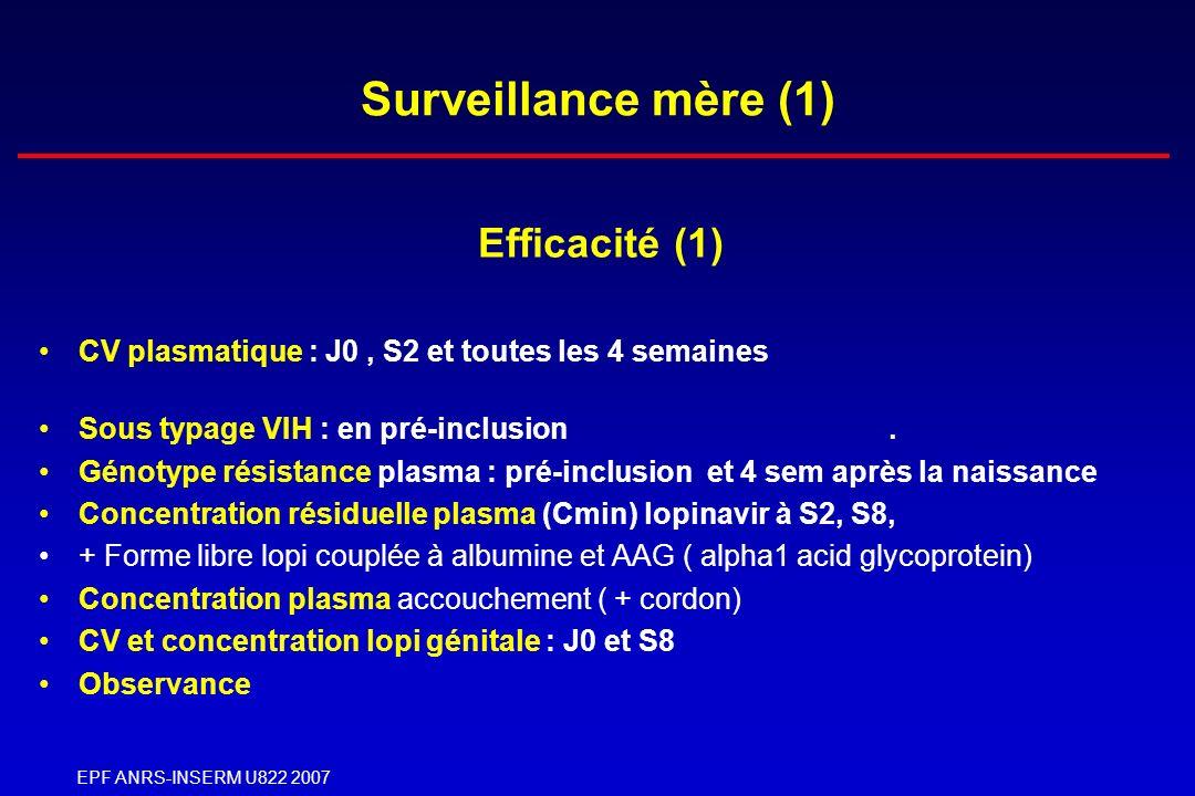 EPF ANRS-INSERM U822 2007 Surveillance mère (1) Efficacité (1) CV plasmatique : J0, S2 et toutes les 4 semaines Sous typage VIH : en pré-inclusion. Gé