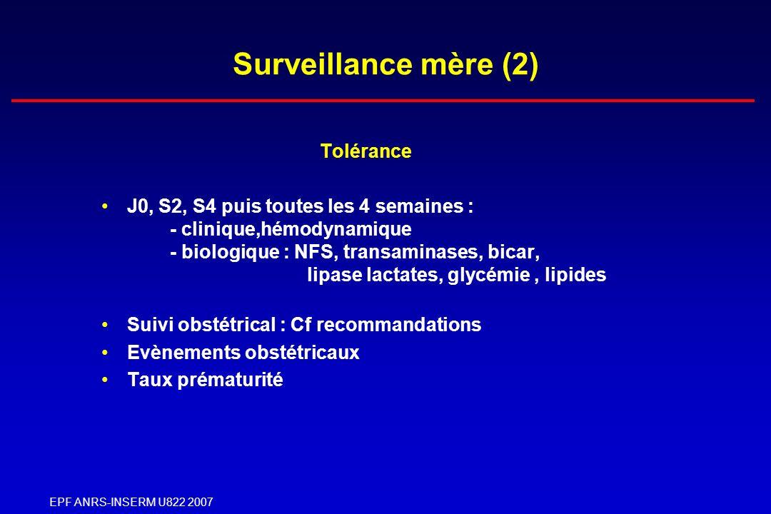 EPF ANRS-INSERM U822 2007 Surveillance mère (2) Tolérance J0, S2, S4 puis toutes les 4 semaines : - clinique,hémodynamique - biologique : NFS, transam