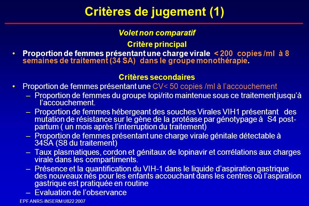 EPF ANRS-INSERM U822 2007 Critères de jugement (1) Volet non comparatif Critère principal Proportion de femmes présentant une charge virale < 200 copi