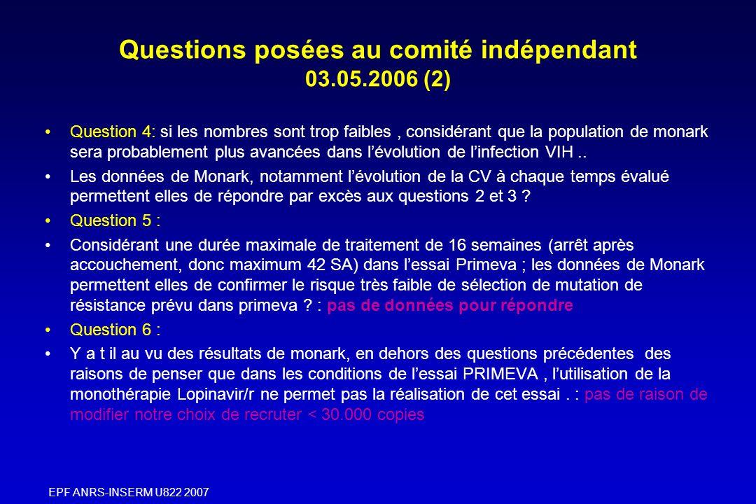 EPF ANRS-INSERM U822 2007 Questions posées au comité indépendant 03.05.2006 (2) Question 4: si les nombres sont trop faibles, considérant que la popul