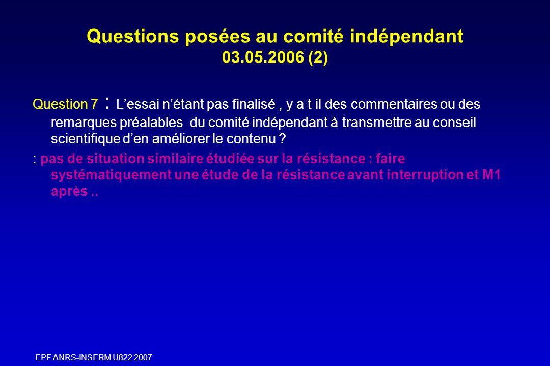 EPF ANRS-INSERM U822 2007 Questions posées au comité indépendant 03.05.2006 (2) Question 7 : Lessai nétant pas finalisé, y a t il des commentaires ou