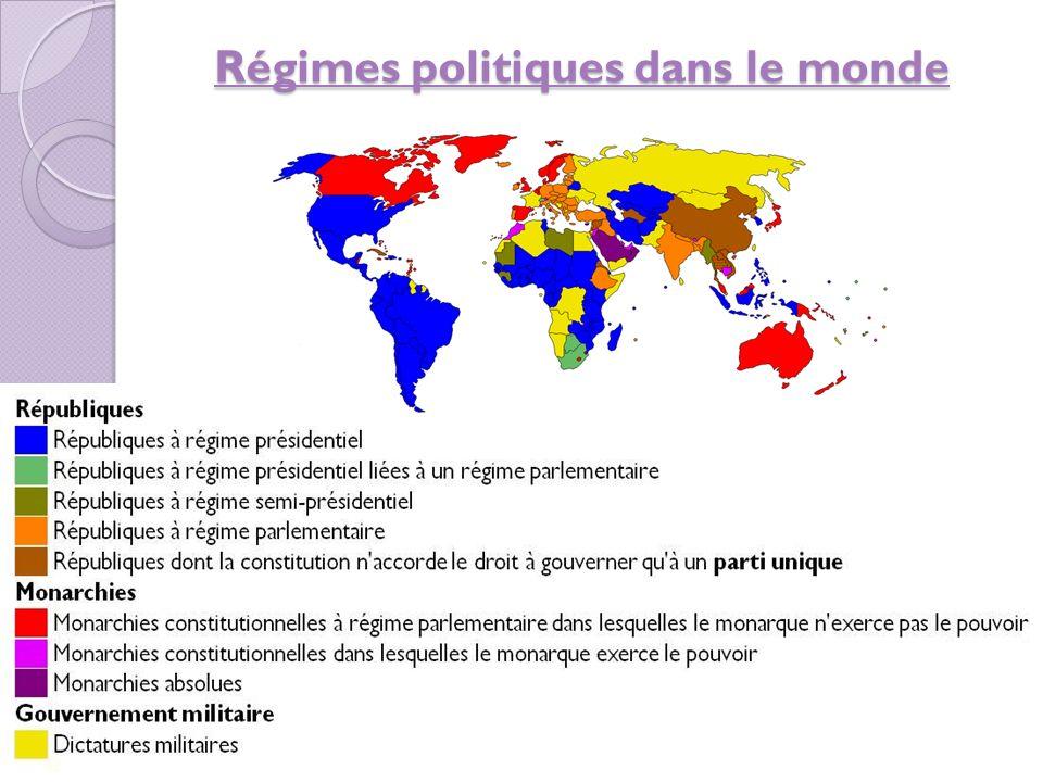 Des pays avec dictature dans le présent l'Arabie Saoudite (une monarchie absolue) la Chine la Corée du Norte (dès 1948) Cuba (dès 1959) Cuba l'Égypte