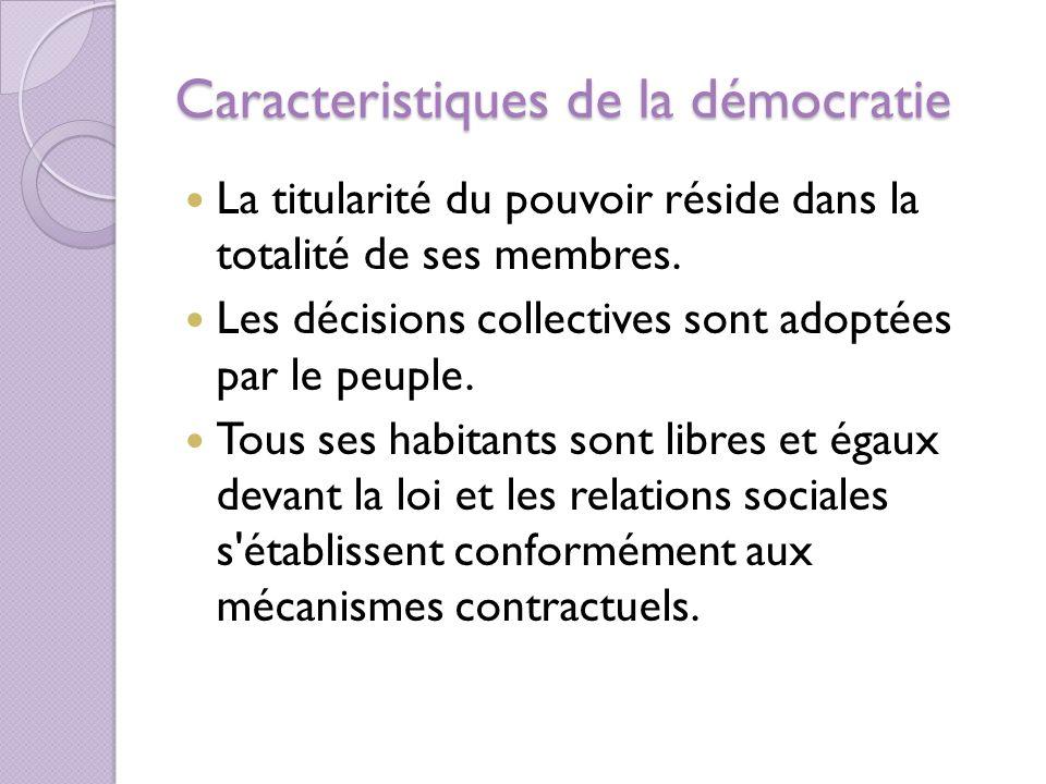 Caracteristiques de la démocratie La titularité du pouvoir réside dans la totalité de ses membres.