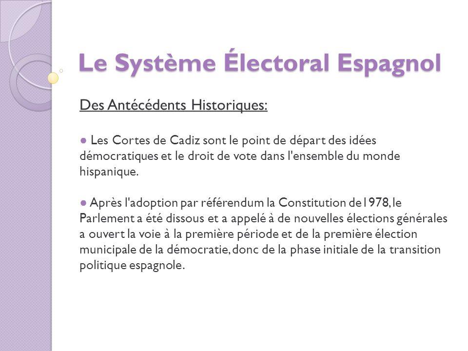 Le Système Électoral Espagnol Des Antécédents Historiques: Les Cortes de Cadiz sont le point de départ des idées démocratiques et le droit de vote dans l ensemble du monde hispanique.