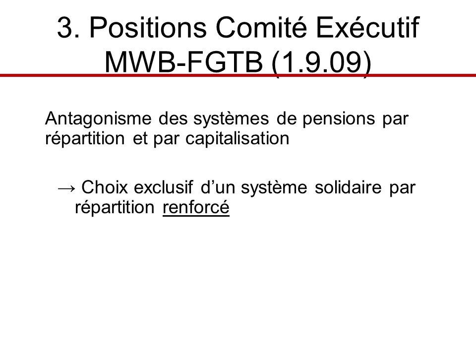 3. Positions Comité Exécutif MWB-FGTB (1.9.09) Antagonisme des systèmes de pensions par répartition et par capitalisation Choix exclusif dun système s
