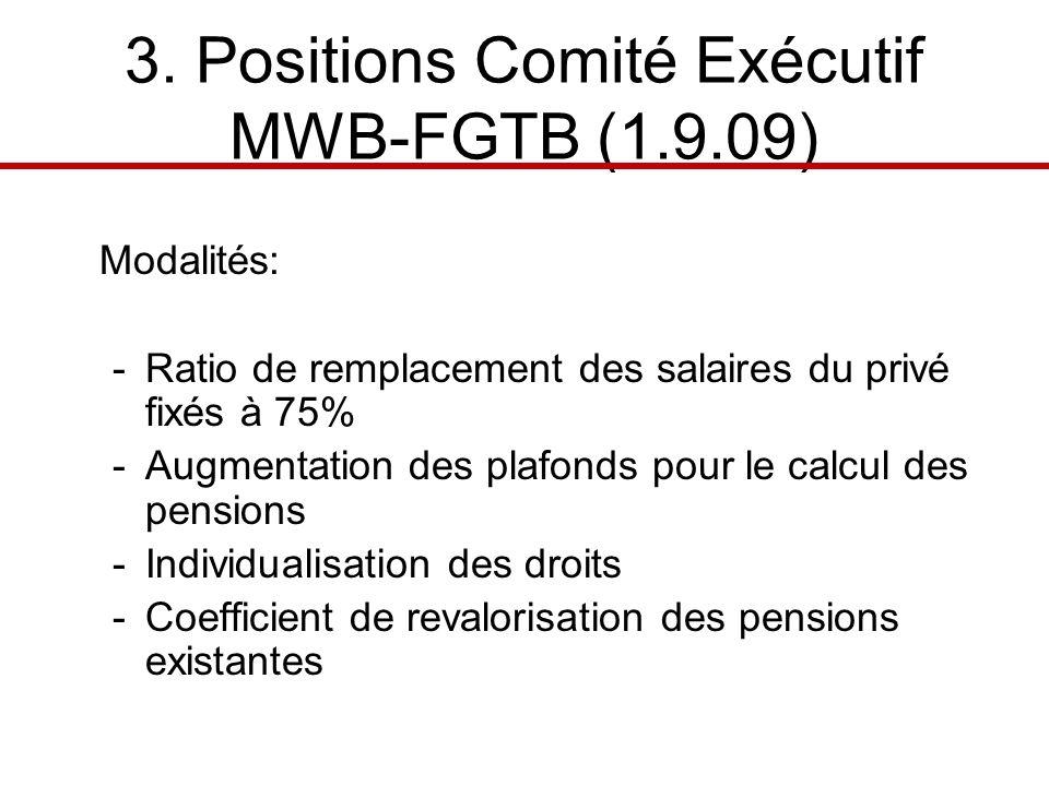 3. Positions Comité Exécutif MWB-FGTB (1.9.09) Modalités: -Ratio de remplacement des salaires du privé fixés à 75% -Augmentation des plafonds pour le