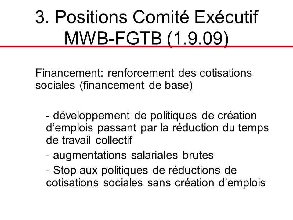 3. Positions Comité Exécutif MWB-FGTB (1.9.09) Financement: renforcement des cotisations sociales (financement de base) - développement de politiques