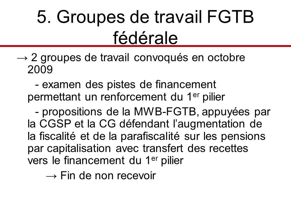 5. Groupes de travail FGTB fédérale 2 groupes de travail convoqués en octobre 2009 - examen des pistes de financement permettant un renforcement du 1