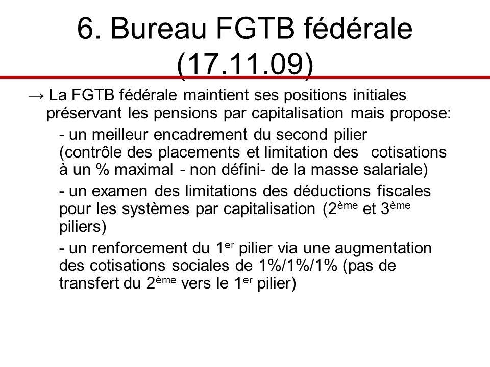 6. Bureau FGTB fédérale (17.11.09) La FGTB fédérale maintient ses positions initiales préservant les pensions par capitalisation mais propose: - un me