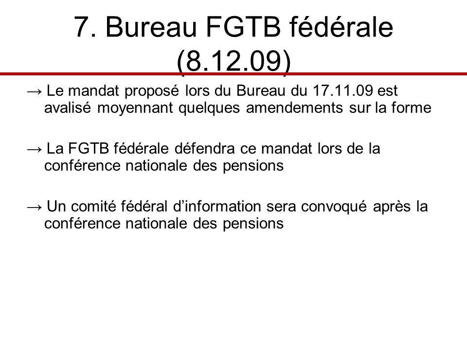 7. Bureau FGTB fédérale (8.12.09) Le mandat proposé lors du Bureau du 17.11.09 est avalisé moyennant quelques amendements sur la forme La FGTB fédéral