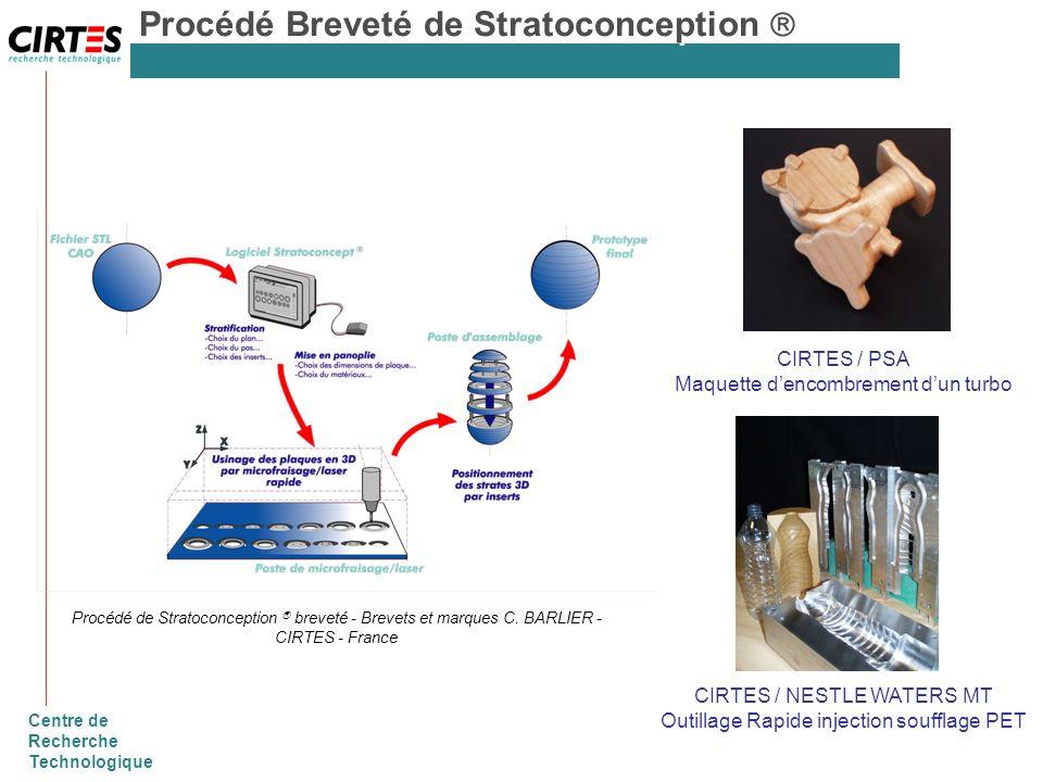 Centre de Recherche Technologique Procédé de Stratoconception breveté - Brevets et marques C. BARLIER - CIRTES - France Procédé Breveté de Stratoconce