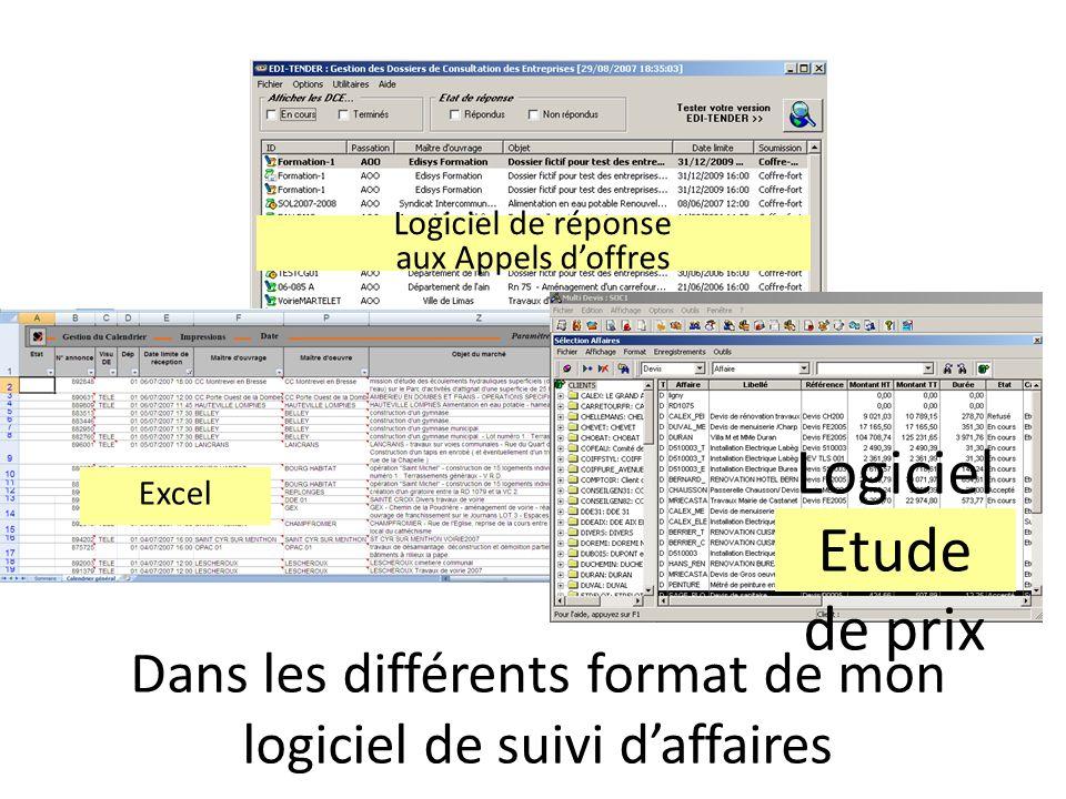 Dans les différents format de mon logiciel de suivi daffaires Excel Logiciel Etude de prix Logiciel de réponse aux Appels doffres