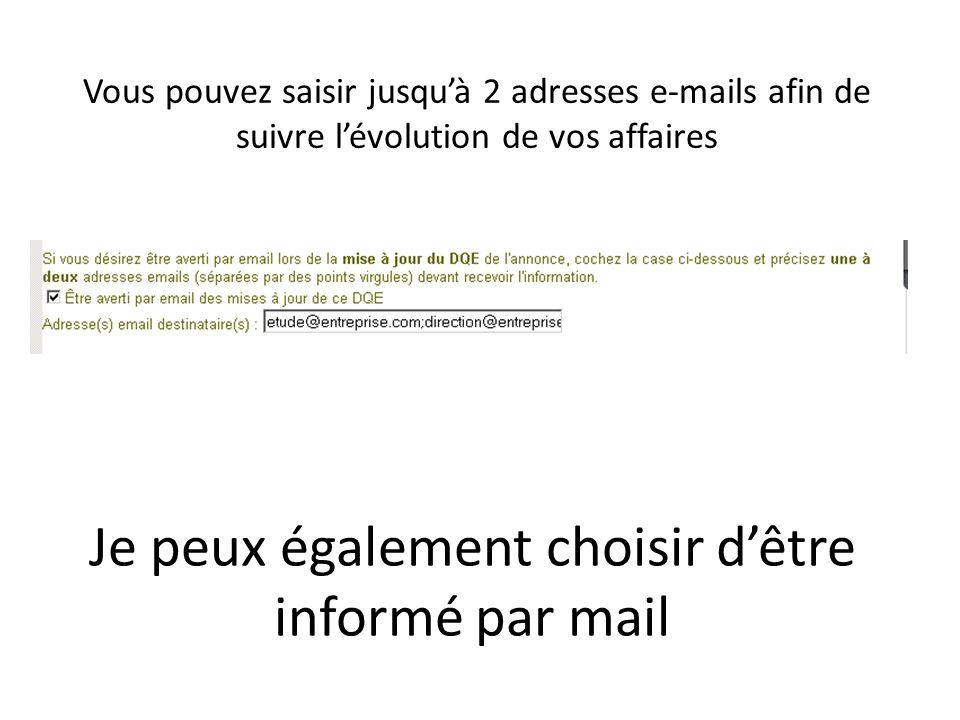 Vous pouvez saisir jusquà 2 adresses e-mails afin de suivre lévolution de vos affaires Je peux également choisir dêtre informé par mail