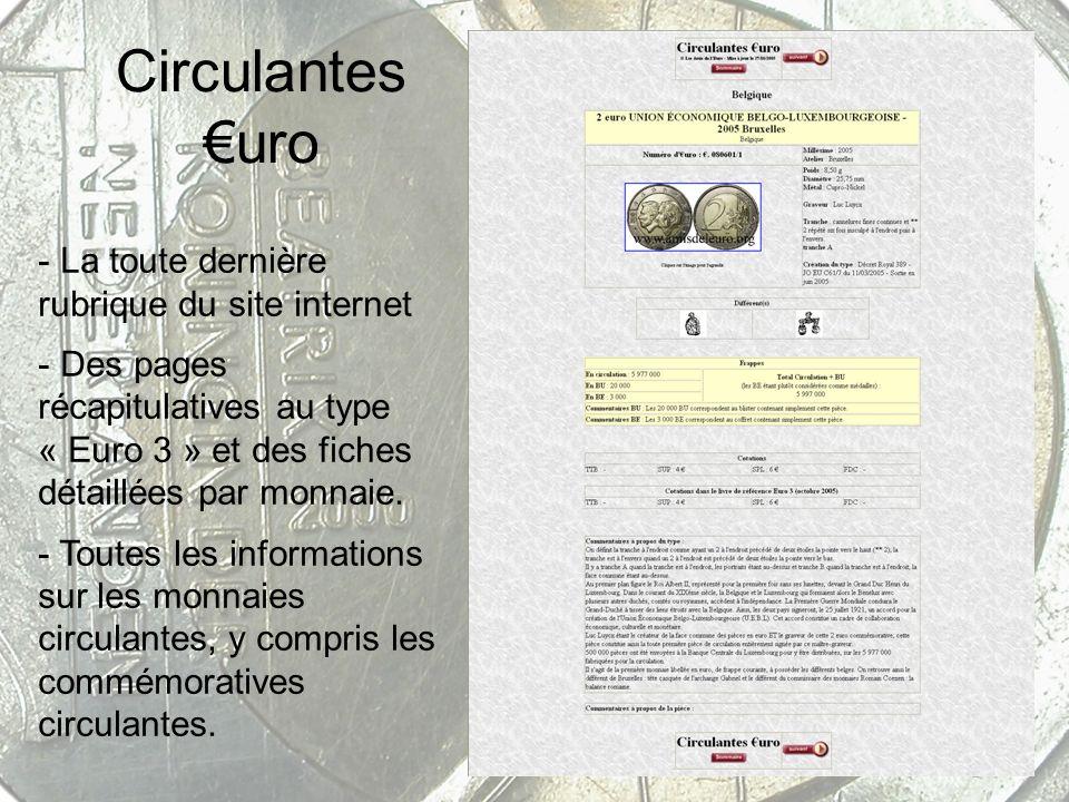 Circulantes uro - La toute dernière rubrique du site internet - Des pages récapitulatives au type « Euro 3 » et des fiches détaillées par monnaie. - T
