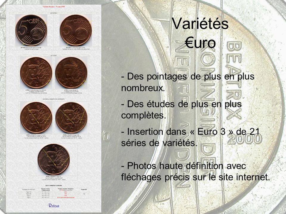 Variétés uro - Des pointages de plus en plus nombreux. - Des études de plus en plus complètes. - Insertion dans « Euro 3 » de 21 séries de variétés. -