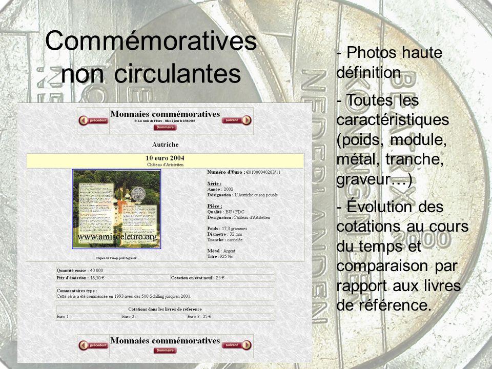 Commémoratives non circulantes - Photos haute définition - Toutes les caractéristiques (poids, module, métal, tranche, graveur…) - Évolution des cotat
