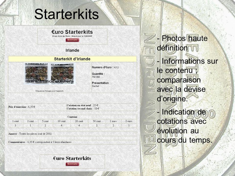 Starterkits - Photos haute définition - Informations sur le contenu ; comparaison avec la devise dorigine. - Indication de cotations avec évolution au