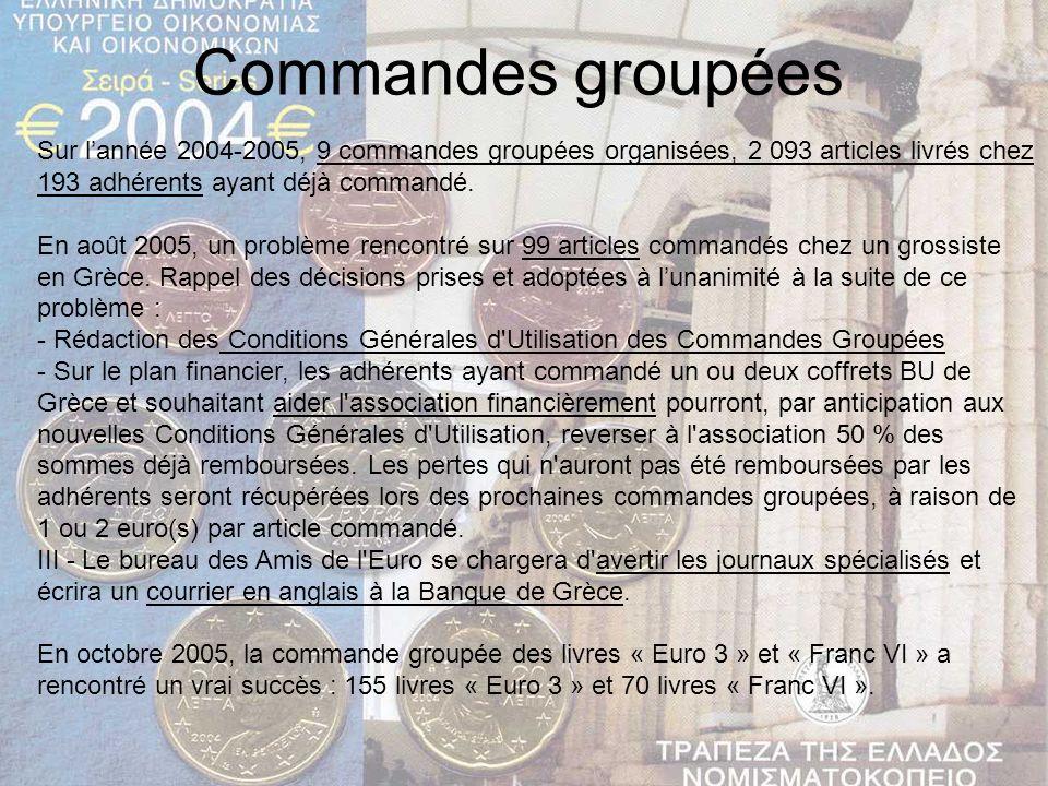 Commandes groupées Sur lannée 2004-2005, 9 commandes groupées organisées, 2 093 articles livrés chez 193 adhérents ayant déjà commandé. En août 2005,
