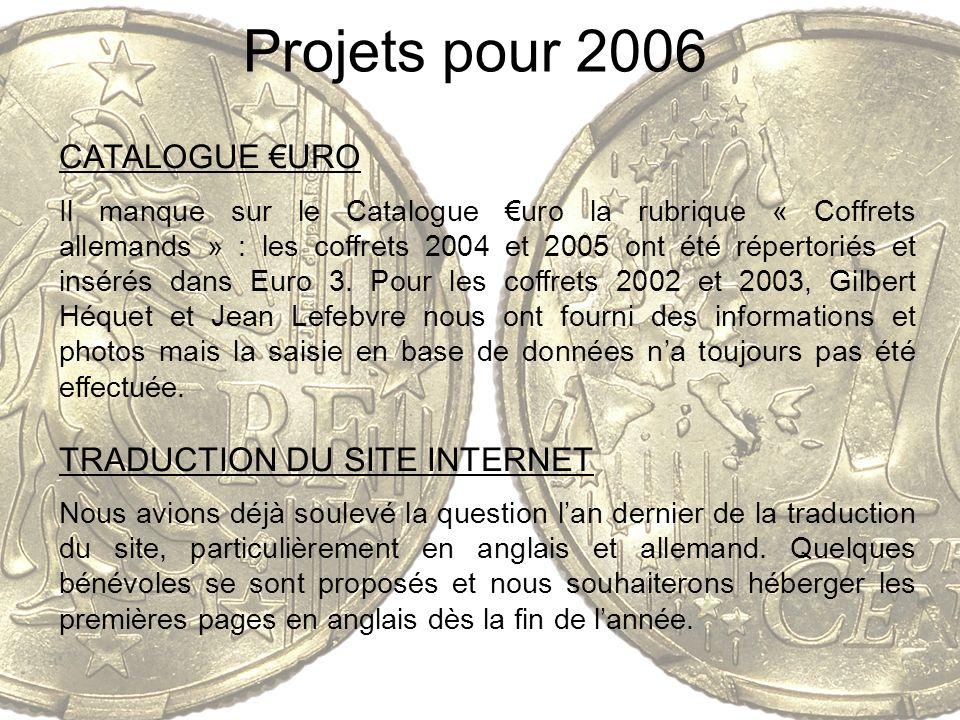 Projets pour 2006 CATALOGUE URO Il manque sur le Catalogue uro la rubrique « Coffrets allemands » : les coffrets 2004 et 2005 ont été répertoriés et i