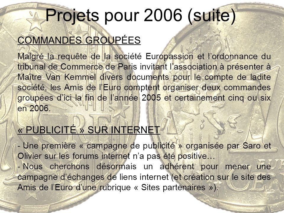 Projets pour 2006 (suite) COMMANDES GROUPÉES Malgré la requête de la société Europassion et lordonnance du tribunal de Commerce de Paris invitant lass