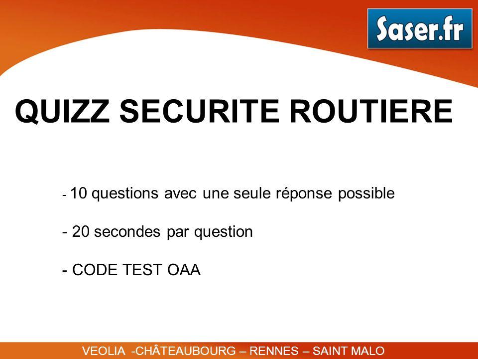 QUIZZ SECURITE ROUTIERE VEOLIA -CHÂTEAUBOURG – RENNES – SAINT MALO - 10 questions avec une seule réponse possible - 20 secondes par question - CODE TE