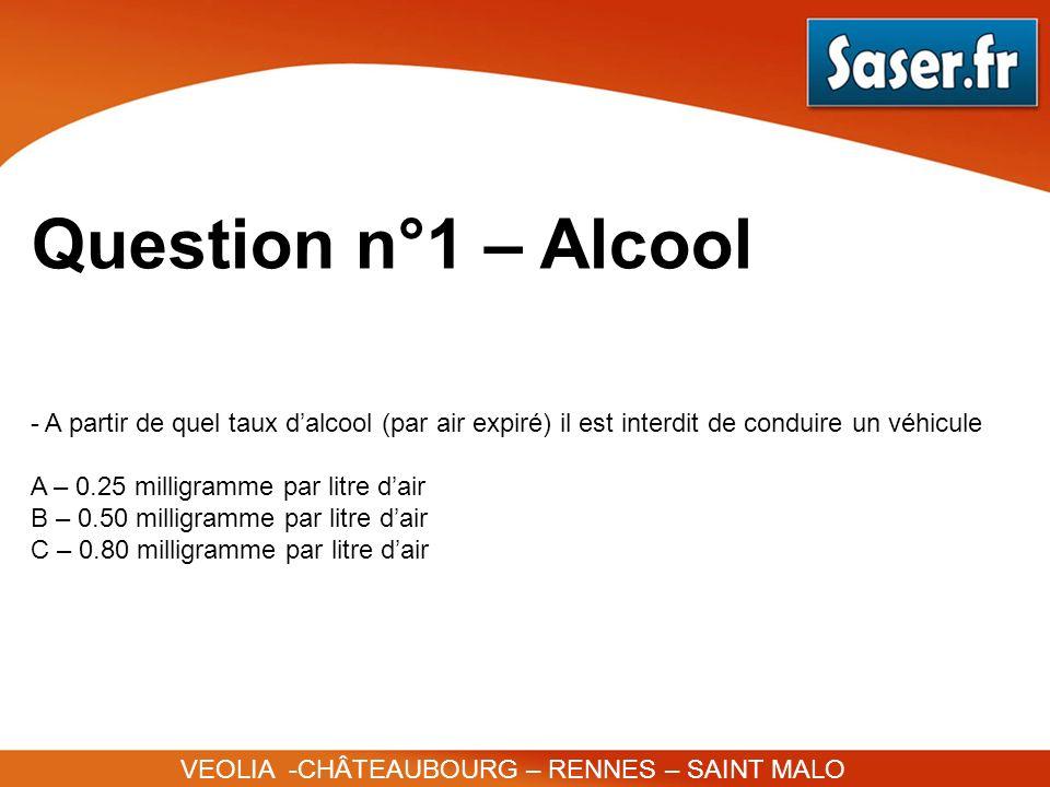 Question n°1 – Alcool VEOLIA -CHÂTEAUBOURG – RENNES – SAINT MALO - A partir de quel taux dalcool (par air expiré) il est interdit de conduire un véhic