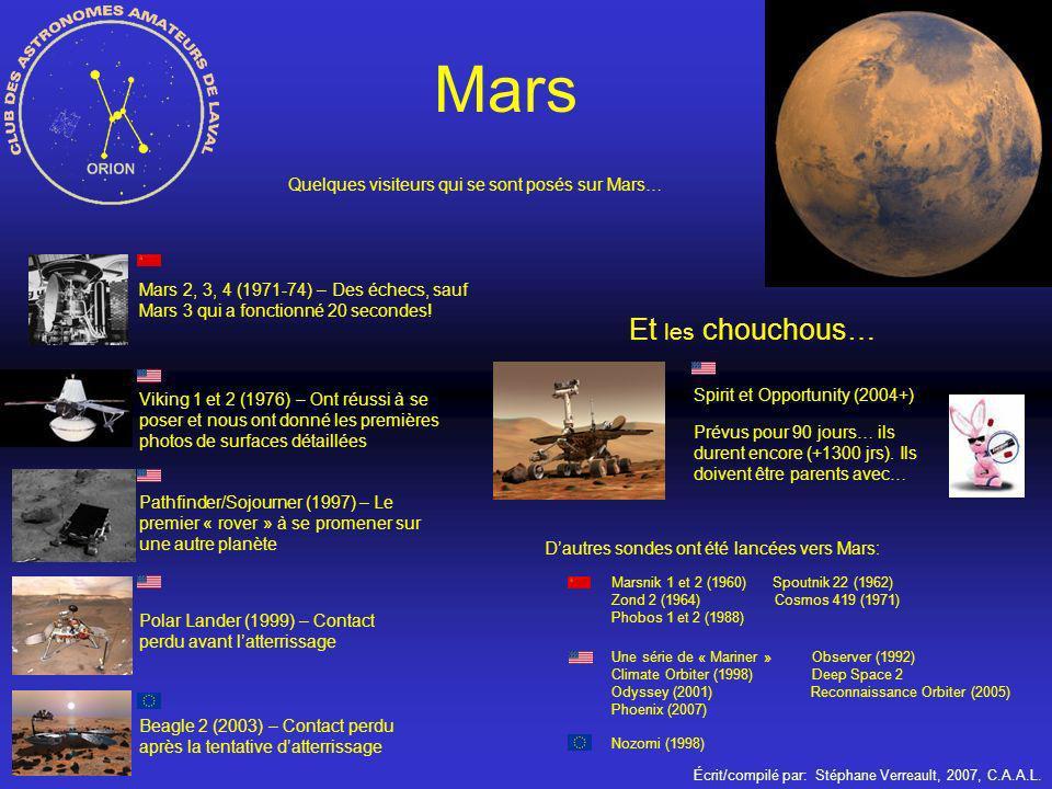 Écrit/compilé par: Stéphane Verreault, 2007, C.A.A.L. Mars Mars 2, 3, 4 (1971-74) – Des échecs, sauf Mars 3 qui a fonctionné 20 secondes! Viking 1 et