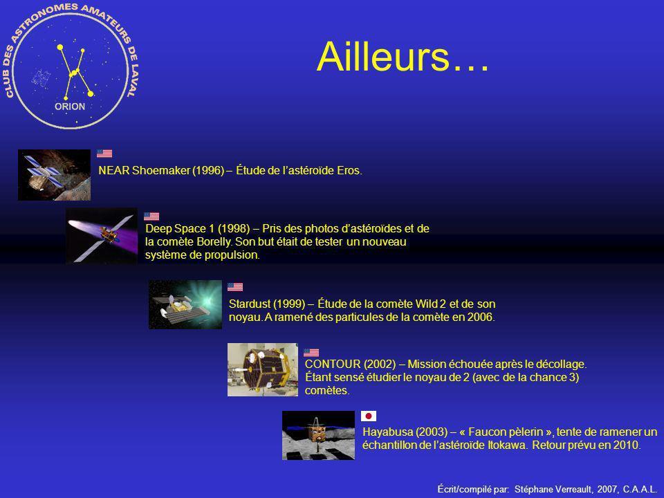 Écrit/compilé par: Stéphane Verreault, 2007, C.A.A.L. Ailleurs… NEAR Shoemaker (1996) – Étude de lastéroïde Eros. Deep Space 1 (1998) – Pris des photo