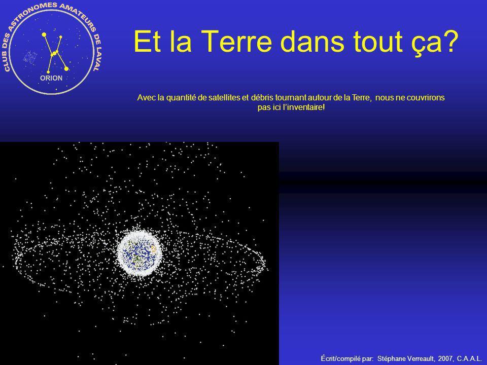 Écrit/compilé par: Stéphane Verreault, 2007, C.A.A.L. Et la Terre dans tout ça? Avec la quantité de satellites et débris tournant autour de la Terre,