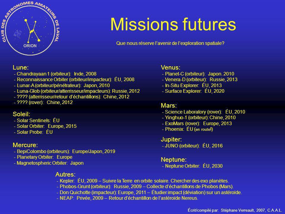 Écrit/compilé par: Stéphane Verreault, 2007, C.A.A.L. Missions futures Que nous réserve lavenir de lexploration spatiale? Lune: - Chandrayaan 1 (orbit