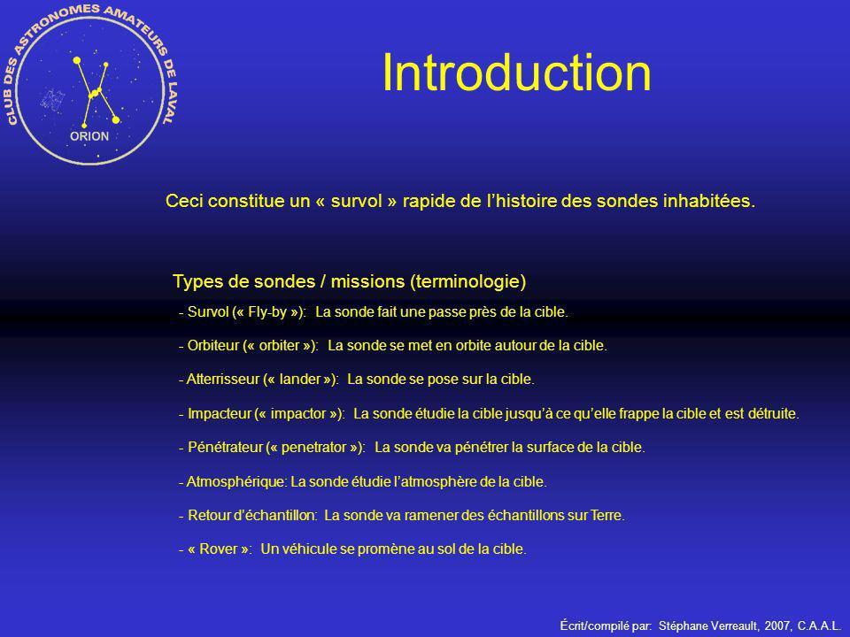 Écrit/compilé par: Stéphane Verreault, 2007, C.A.A.L. Ceci constitue un « survol » rapide de lhistoire des sondes inhabitées. Introduction Types de so