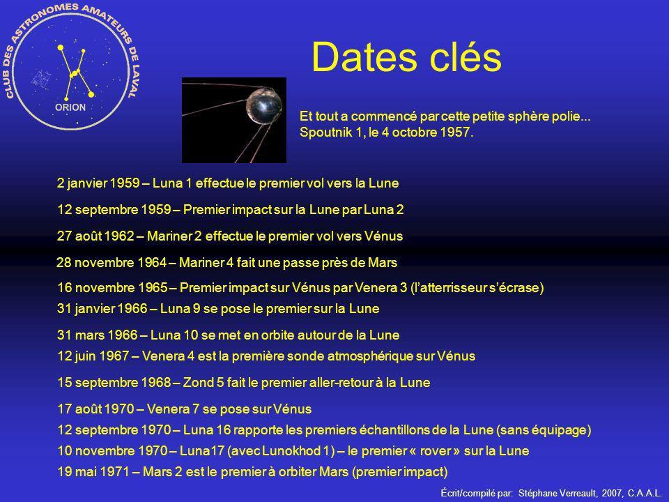 Écrit/compilé par: Stéphane Verreault, 2007, C.A.A.L. Dates clés Et tout a commencé par cette petite sphère polie... Spoutnik 1, le 4 octobre 1957. 2