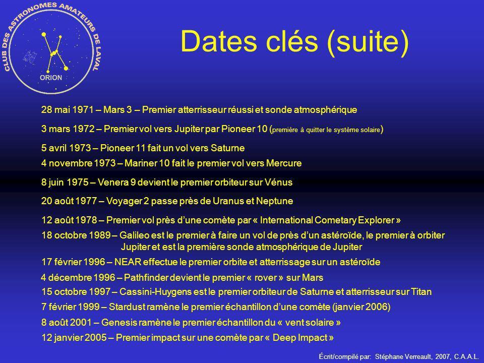 Écrit/compilé par: Stéphane Verreault, 2007, C.A.A.L. Dates clés (suite) 28 mai 1971 – Mars 3 – Premier atterrisseur réussi et sonde atmosphérique 3 m