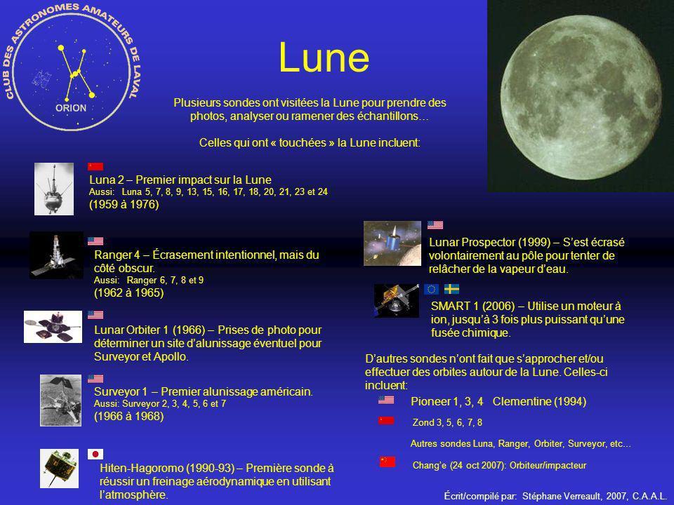Écrit/compilé par: Stéphane Verreault, 2007, C.A.A.L. Plusieurs sondes ont visitées la Lune pour prendre des photos, analyser ou ramener des échantill