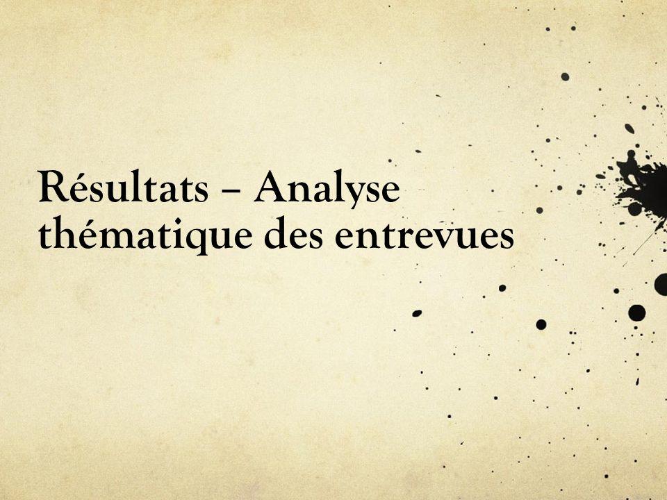 Résultats – Analyse thématique des entrevues
