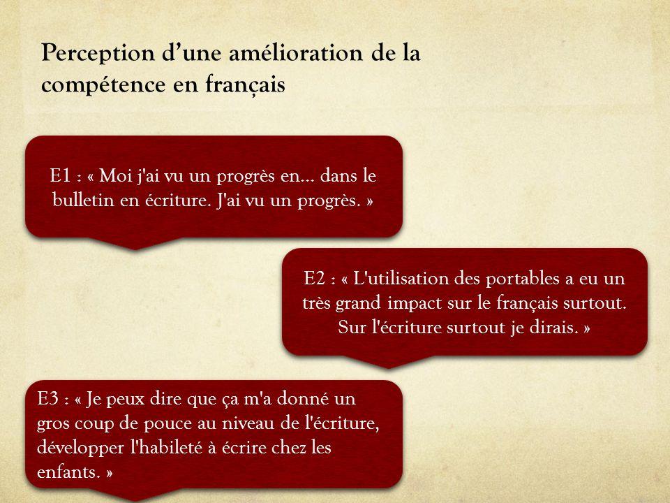 Perception dune amélioration de la compétence en français E1 : « Moi j'ai vu un progrès en… dans le bulletin en écriture. J'ai vu un progrès. » E2 : «
