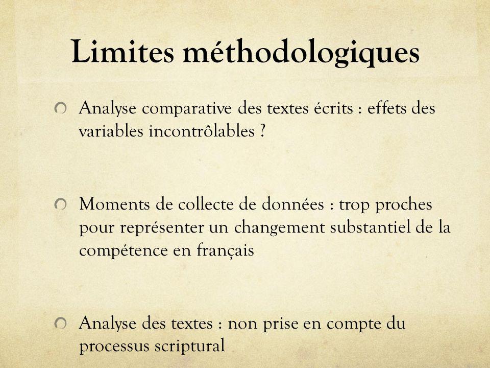 Limites méthodologiques Analyse comparative des textes écrits : effets des variables incontrôlables ? Moments de collecte de données : trop proches po