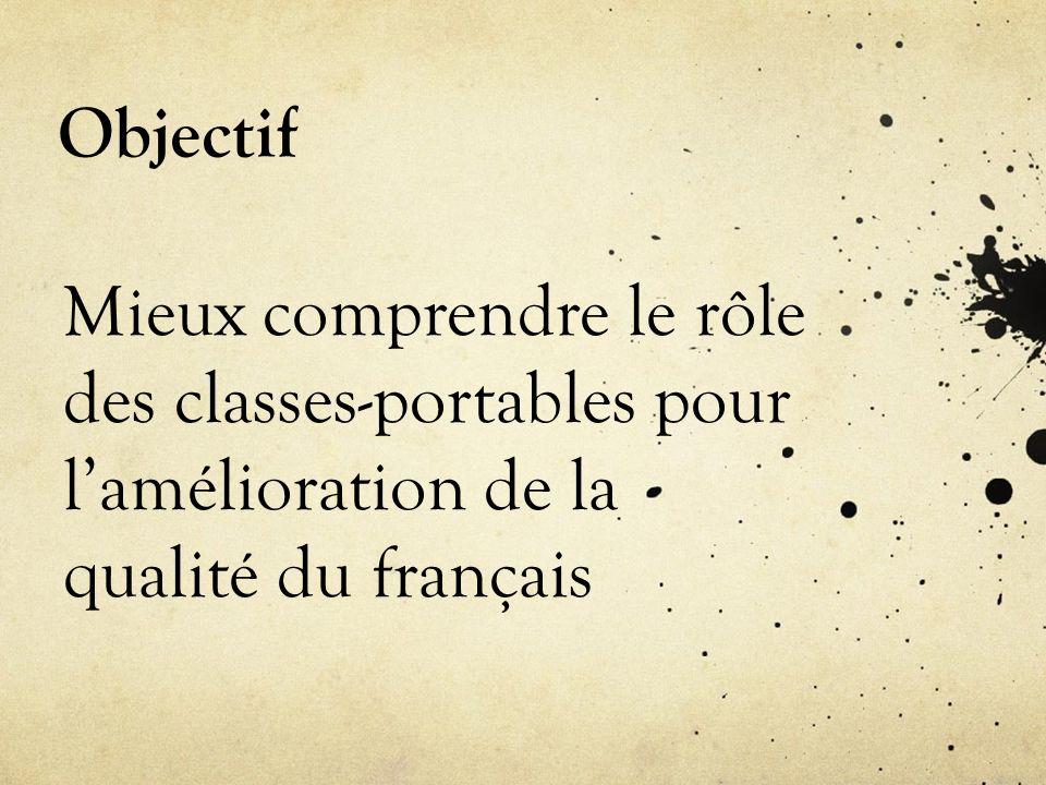Objectif Mieux comprendre le rôle des classes-portables pour lamélioration de la qualité du français