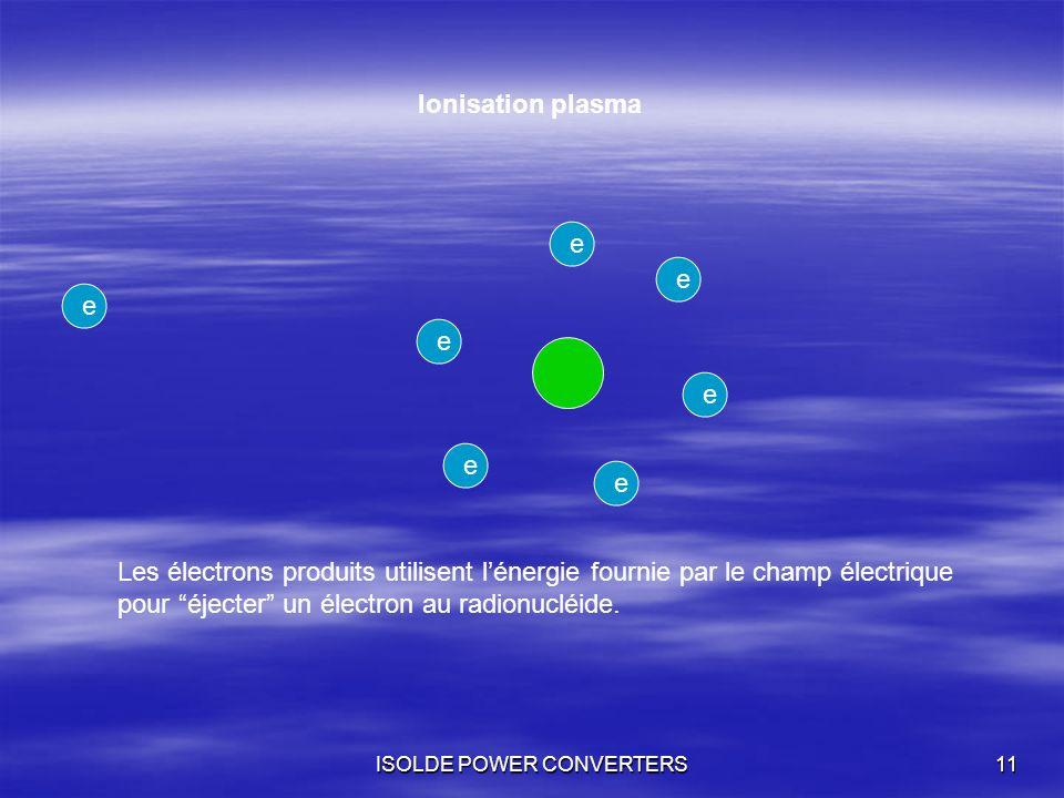 ISOLDE POWER CONVERTERS11 e eeeeee Ionisation plasma Les électrons produits utilisent lénergie fournie par le champ électrique pour éjecter un électro