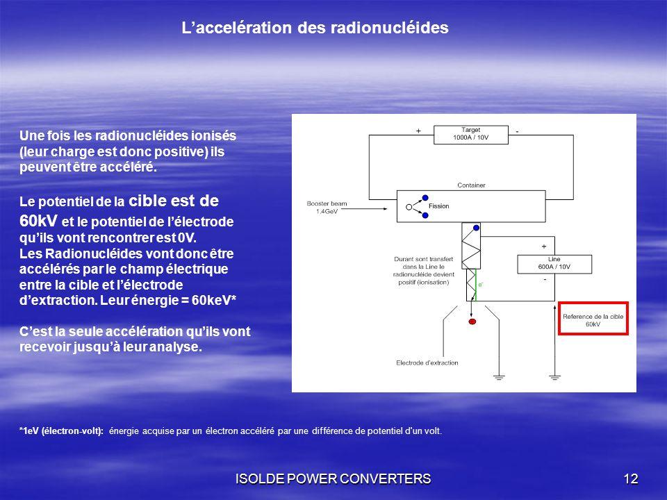 ISOLDE POWER CONVERTERS12 Laccelération des radionucléides Une fois les radionucléides ionisés (leur charge est donc positive) ils peuvent être accélé