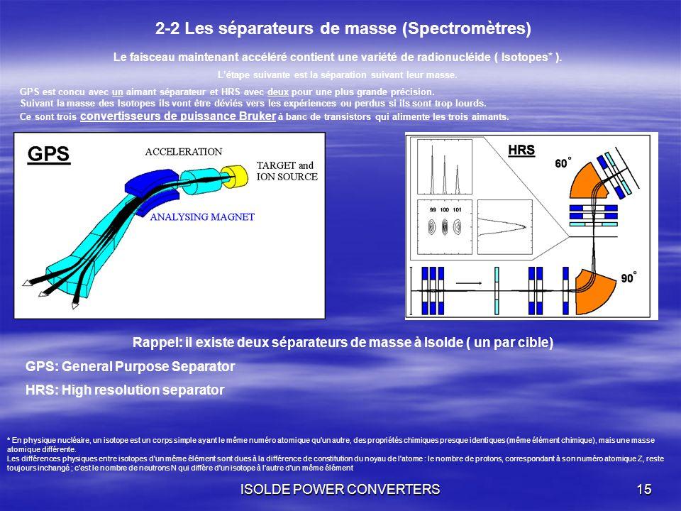 ISOLDE POWER CONVERTERS15 2-2 Les séparateurs de masse (Spectromètres) Le faisceau maintenant accéléré contient une variété de radionucléide ( Isotope