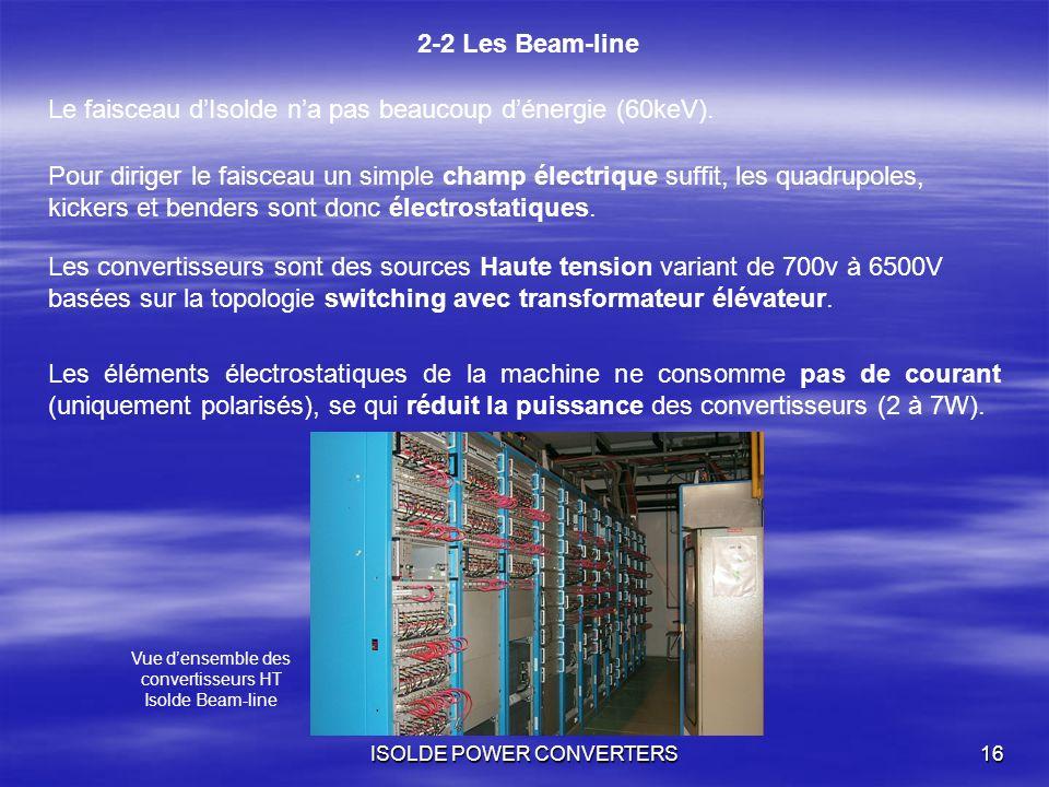 ISOLDE POWER CONVERTERS16 2-2 Les Beam-line Les éléments électrostatiques de la machine ne consomme pas de courant (uniquement polarisés), se qui rédu