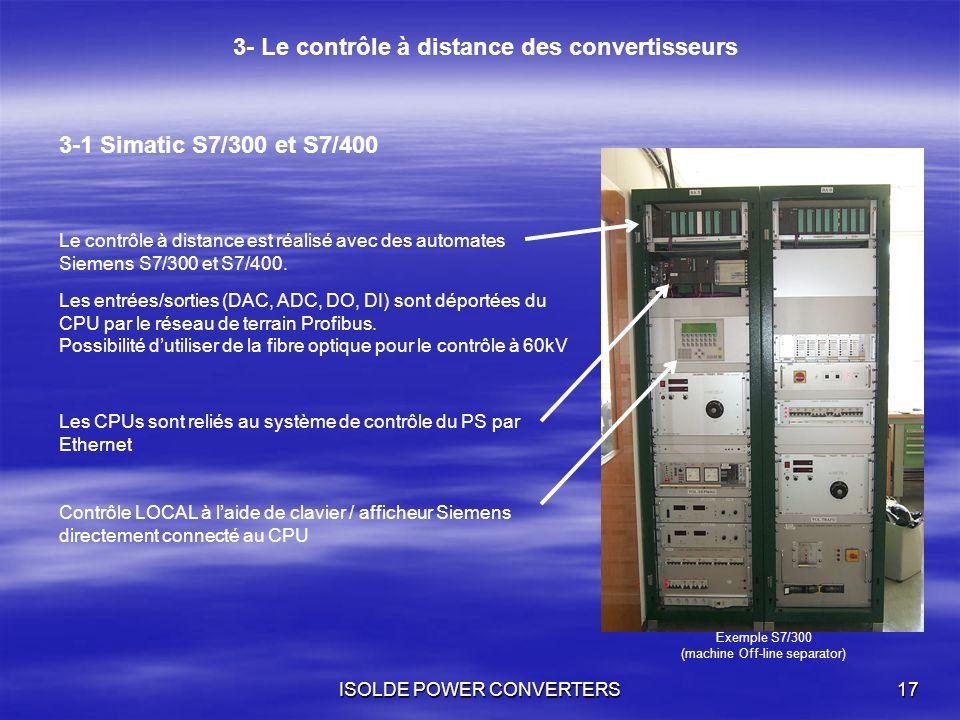 ISOLDE POWER CONVERTERS17 3- Le contrôle à distance des convertisseurs 3-1 Simatic S7/300 et S7/400 Le contrôle à distance est réalisé avec des automa