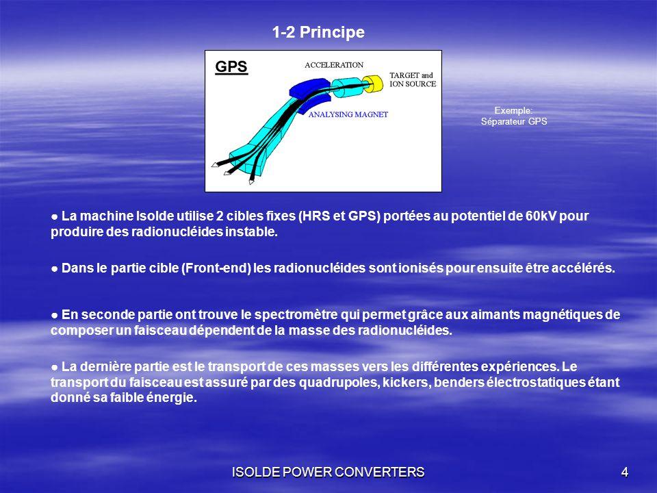 ISOLDE POWER CONVERTERS4 1-2 Principe La machine Isolde utilise 2 cibles fixes (HRS et GPS) portées au potentiel de 60kV pour produire des radionucléi