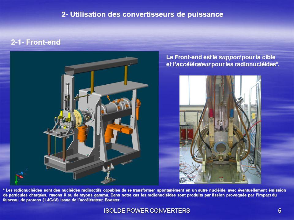 ISOLDE POWER CONVERTERS5 2- Utilisation des convertisseurs de puissance 2-1- Front-end Le Front-end est le support pour la cible et laccélérateur pour