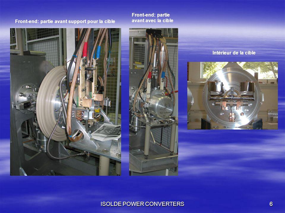 ISOLDE POWER CONVERTERS6 Front-end: partie avant support pour la cible Front-end: partie avant avec la cible Intérieur de la cible