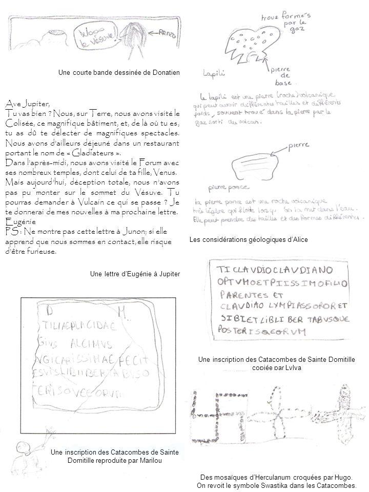 Une inscription des Catacombes de Sainte Domitille copiée par Lylya Une inscription des Catacombes de Sainte Domitille reproduite par Marilou Des mosa
