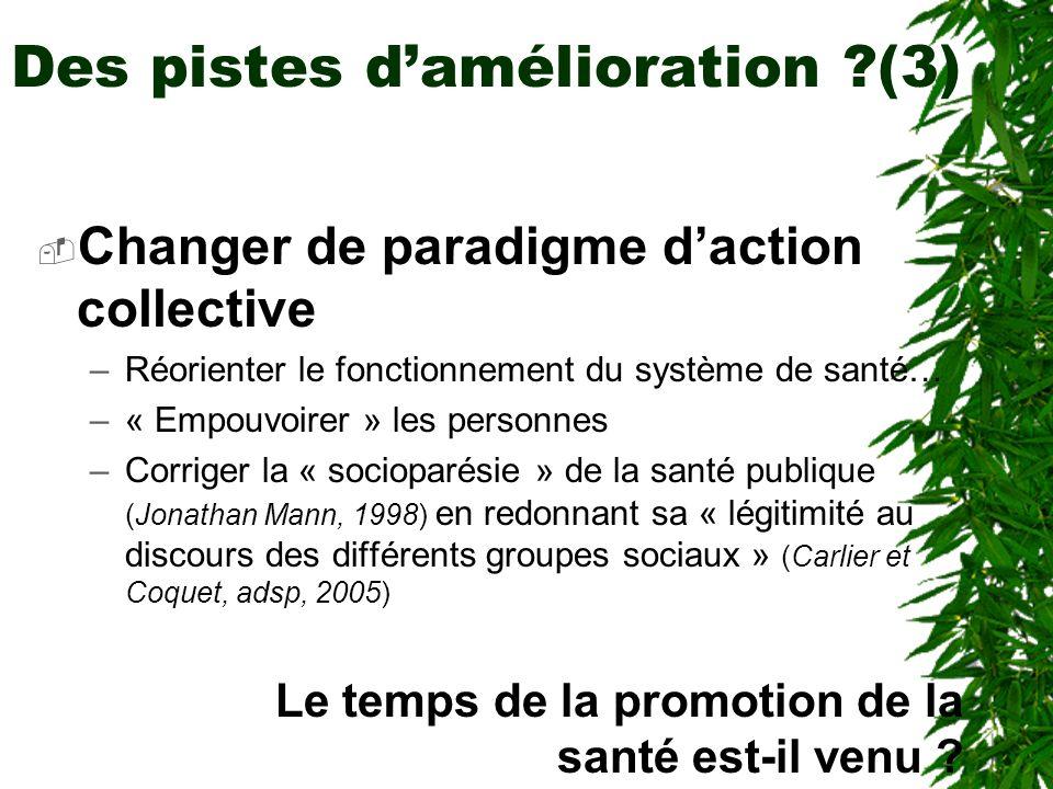 Des pistes damélioration (3) Changer de paradigme daction collective –Réorienter le fonctionnement du système de santé… –« Empouvoirer » les personnes –Corriger la « socioparésie » de la santé publique (Jonathan Mann, 1998) en redonnant sa « légitimité au discours des différents groupes sociaux » (Carlier et Coquet, adsp, 2005) Le temps de la promotion de la santé est-il venu